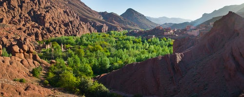 Landscape Photography by Professional Freelance UK Landscape Photographer Panoramic photo of a typical Moroccan desert town in the Dades Valley Dades Gorge Morocco North Africa Africa