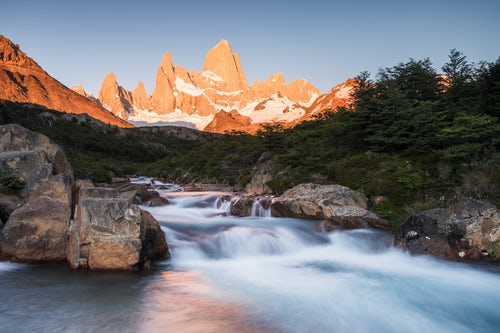 Landscape Photography by Professional Freelance UK Landscape Photographer Sunrise Mount Fitz Roy aka Cerro Chalten and waterfall seen on Lago de los Tres hike El Chalten Patagonia Argentina South America
